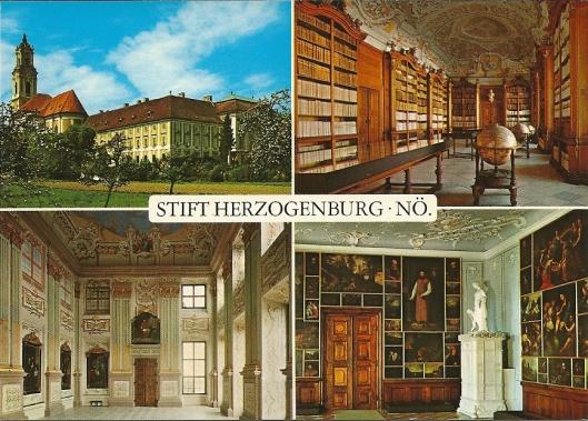 Stift Herzogenburg. Rechtsboven: de pronkzaalbibliotheek Augustijnerklooster , gebouwd door J. Prandtauer en J.Fischer von Erlach . Schilderingen bibliotheek (1751) door Domenico Francia; boekenkasten van Lorenz Horess.
