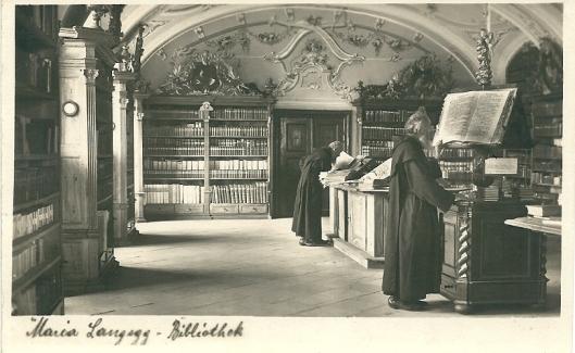 Kaart uit omstreeks 1920 van kloosterbibliotheek in Maria Langegg