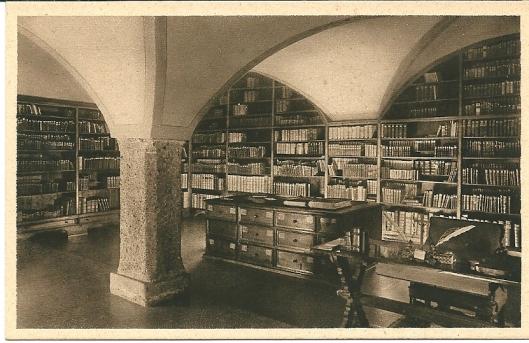 Oude kaart van bibliotheek in Benedictijnerklooster Nonnberg in Salzburg