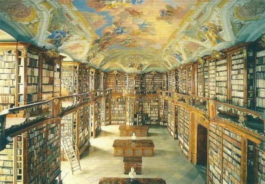 Nog een afbeelding van Benediktinder Stiftsbibliothek. Bibliotheekzaal dateert uit 1740 (laatbarok) Seitenstetten.