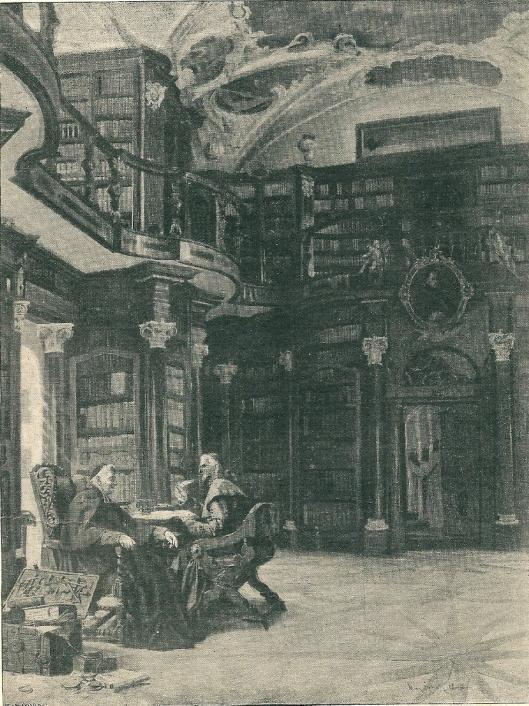 In de kloosterbibliotheek van Sankt Gallen in Zwitserland. Gravure naar een childerij van Max Scholz. [Het klooster van Sankt Gallen is omstreeks 730 gesticht. De prachtige barokzaal, ontworpen door Peter Thumb, dateert uit 1757/58].