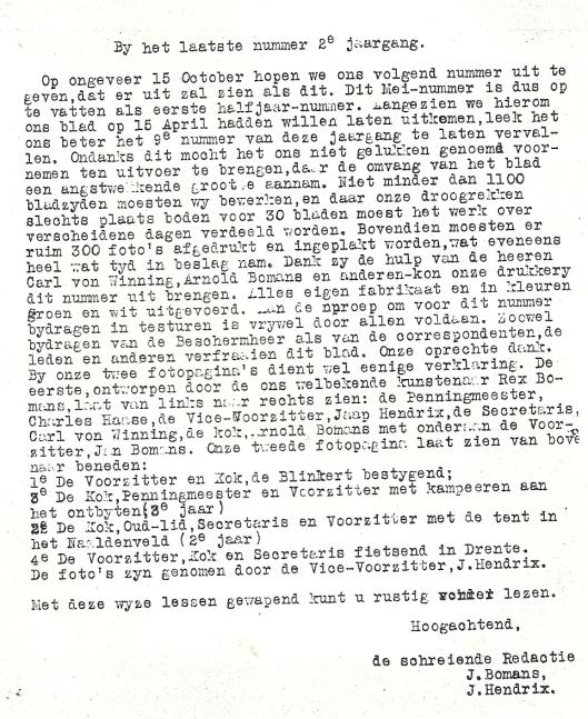 Afscheid van redactieleden J.Bomans en J.Hendrix in Groenwit, 1933, nummer 4