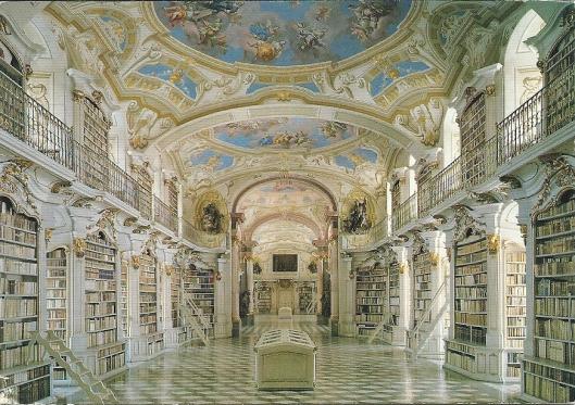 Stiftsbibliothek Admont in Stiermarken. Gebouwd door Josef Huebner met fresco's van Bartolomeo Altomonte. Voltooid in 1776