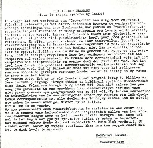 Cum tacent clamant (door te zwijgen spreken zij luide); door Godfried Bomans, in Groenwit; orgaan van de Duinclub, 2, 1933, nummer 4 (15 maart)