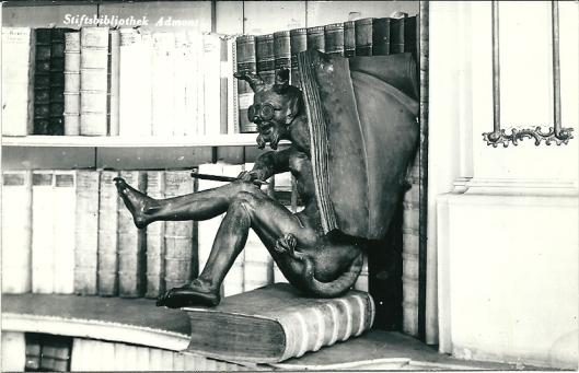 De duivel op een foliant in de kloosterbibliotheek van Admont