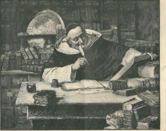 Houtgravure. Archiefstudies in een kloosterbibliotheek naar een schilderij van Eduard Grützner