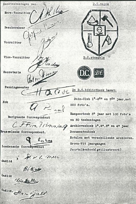 Handtekeningen van 13 (ex)leden, het Duinclub wapen en wat de Duinckub-bibliotheek bevatte.