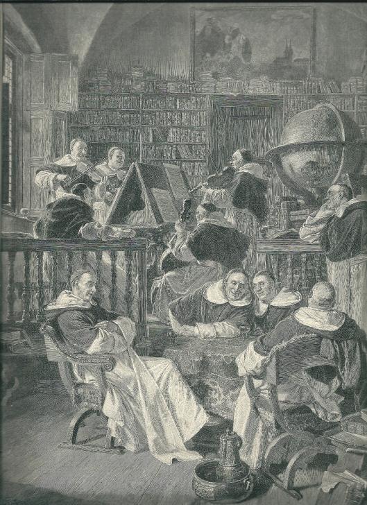 Kwartet in het klooster. Gravure naar een schilderij van Eduard Grützner