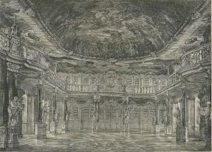 Houtgravure uit 1885 van voormalige kloosterbibliotheek Schussenried in Zuid-Duitsland. Rococo-bibliotheekzaal kwan in 1774 gereed. Tegenwoordig is het vm. klooster in gebruik als psychiatrisch ziekenhuis. Na de secularisatie van 1803 zijn de bestanden 6 jaar later overgegaan naar de Württembergische Hof- und Landesbibliothek.