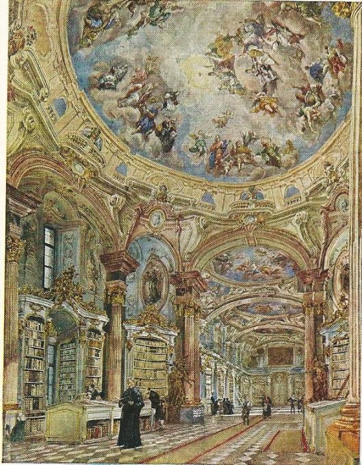 Rudolf von Alt (1812-1905). Schilderij van de bibliotheek in klooster Admont (Wenen, Akademie der bildenden Künste)