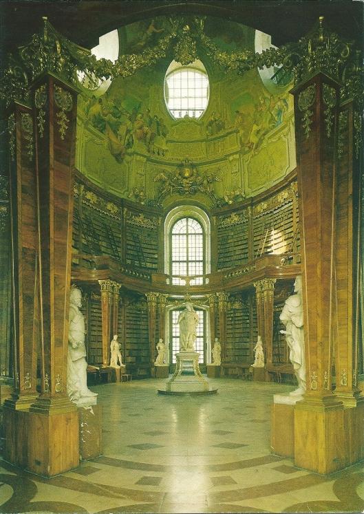 Nog een afbeelding van de pronkzaal van de ONB in Wenen. De kunstzinnige en educatieve fresco's zoals van de School van Athene zijn vervaardigd door Daniel Gran in de jaren 1726/1730