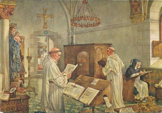 'In een middeleeuws klooster', tekening van Isings