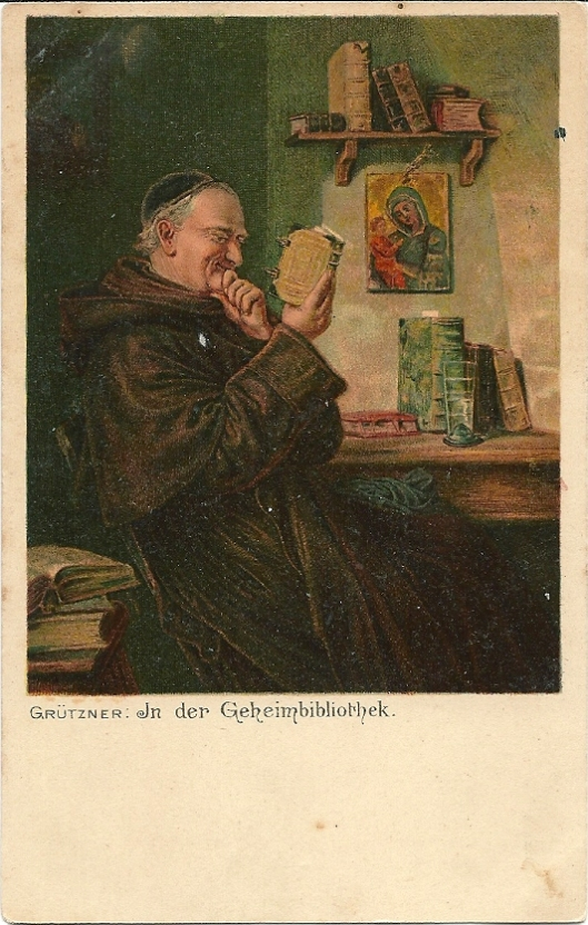 Ansichtkaart: E.Grützner: In de 'Geheimbibliothek'.