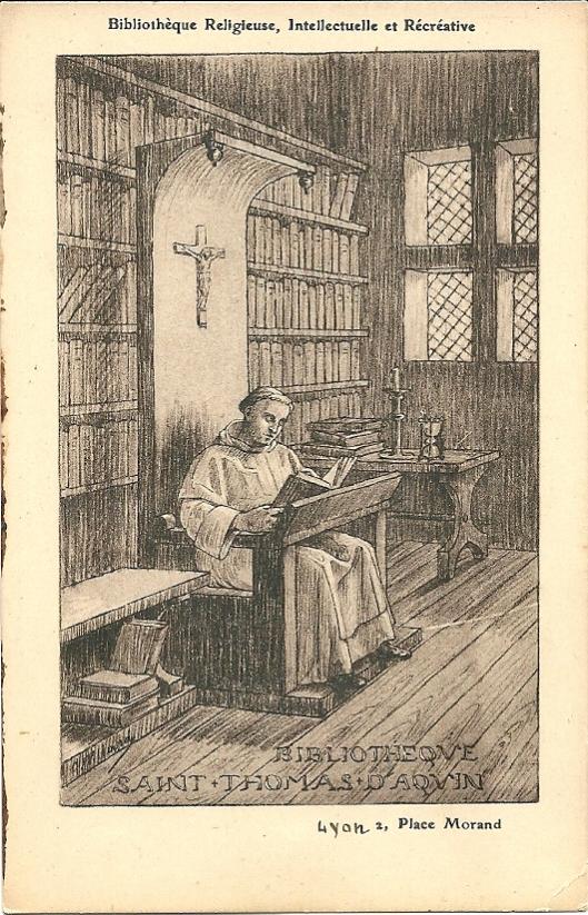 Biblioth. Réligieuse., Lyon. St. Thomas van Aquino in zijn bibliotheek