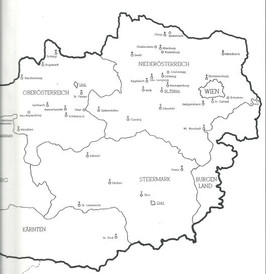 Vervolgkaart  van midden en oost-Oostenrijk. De meeste kloosterbibliotheken zijn gelegen in de provincie 'Niederösterreich' , gevolgd door 'Oberösterreich'