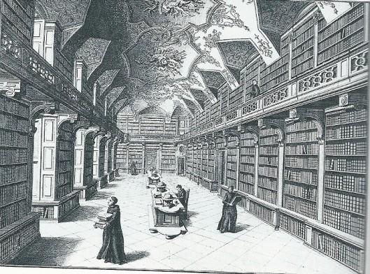 Gravure van het Benedictijnerklooster Göttweig, De 'Bibliotheca Maior' bevindt zich in de oostvleugel op de eerste verdieping; de 'Bibliotheca Minor' op de tweede etage