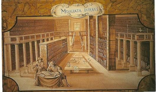 Een schildering in de kloosterbibliotheek van Sankt Lambrecht toont de oorspronkelijke toestand van de bibliotheekruimte met motto 'Moderata durant' ofwel voortduren zal waar de juiste maat wordt gehanteerd