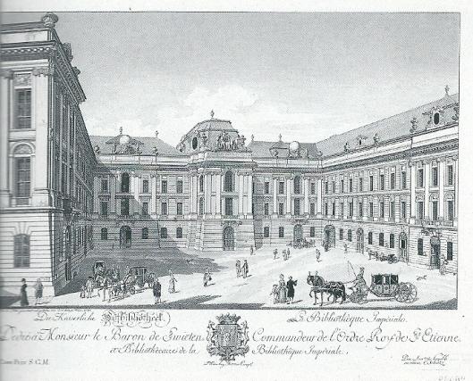 Josefsplatz Wenen, naar een voorstelling uit 1780 met in het midden de Hofbibliothek die naar plannen van J.B.Fischer von Erlach tussen 1723-1726 is gebouwd. Zijn zoon Joseph Emanuel voltooide in 1735 de bouw.