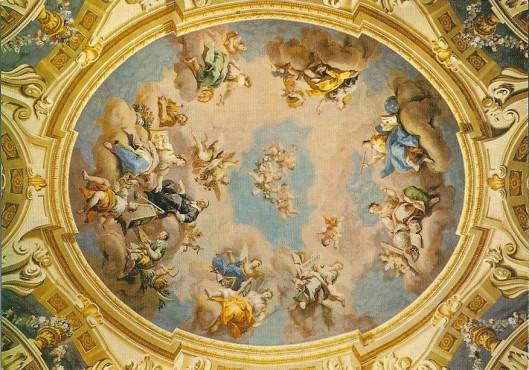 Plafondfresco in Admont van barth. Altomonte (1776) met voorstelling van 'de wereldse wetenschappen'
