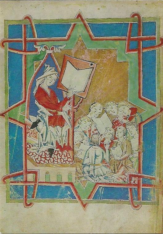 Miniatuur uit een 13e eeuws handschrift met voorstelling van een Middeleeuwse kloosterschool (Admonter handschrift 368)