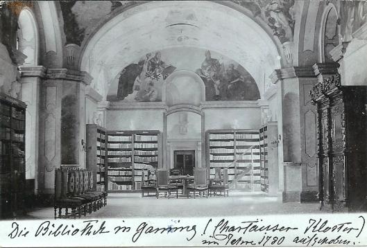 Bibliotheek van het Karthuizerklooster in Gaming (1780 opgeheven) op een ansichtkaart uit circa 1930