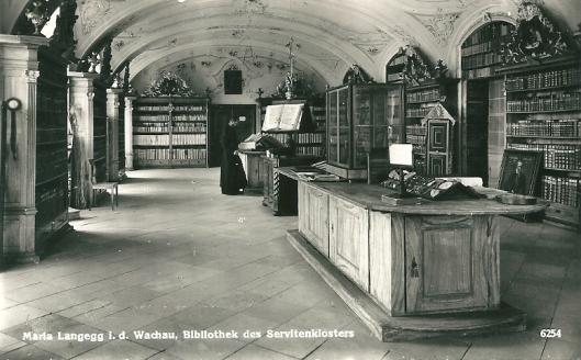 Nog een prentbriefkaart van bibliotheek in Servitenkklooster Maria Langegg i.d. Wachau