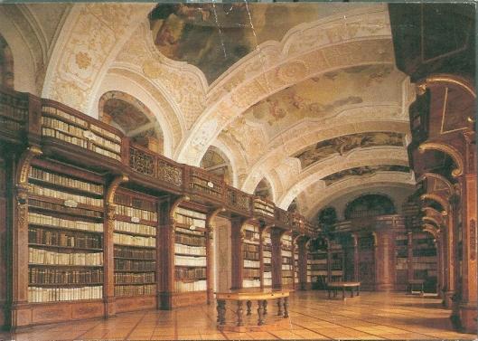 Ansichtkaart van de kloosterbibliotheek Zwettl