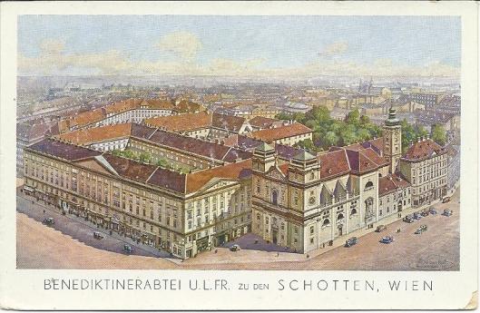 Kaart met overzicht van de Benedictijnerabdij 'Zu den Schotten' in Wenen