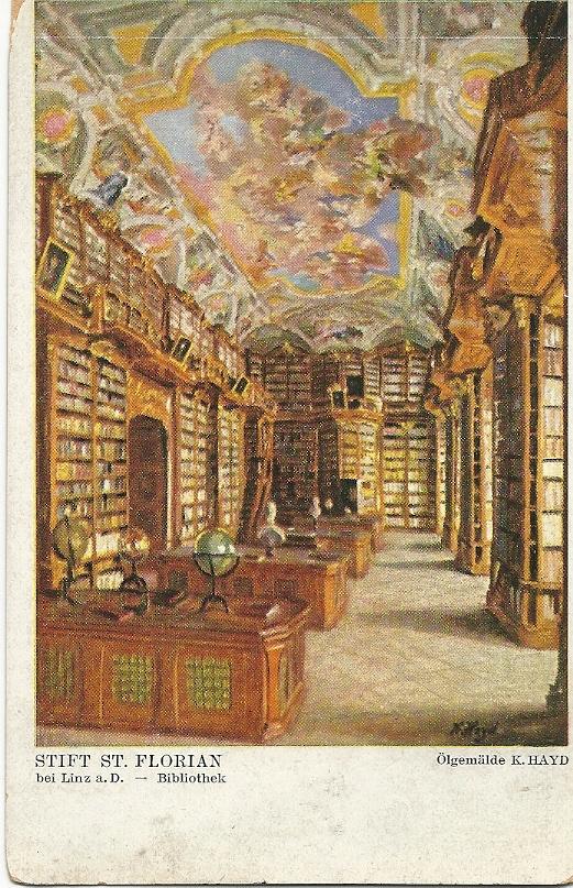 Kloosterbibliotheek Sant Florian nabij Linz. Schilderij van K.Hayd