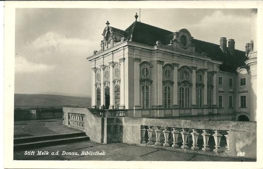 Oude kaart van bibliotheekgebouw bij klooster Melk