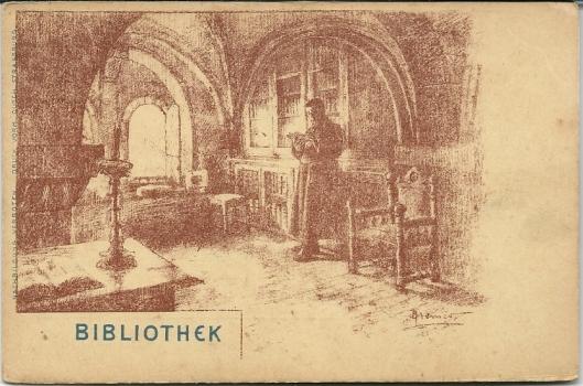 Kaart: lezend in een kloosterbibliotheek