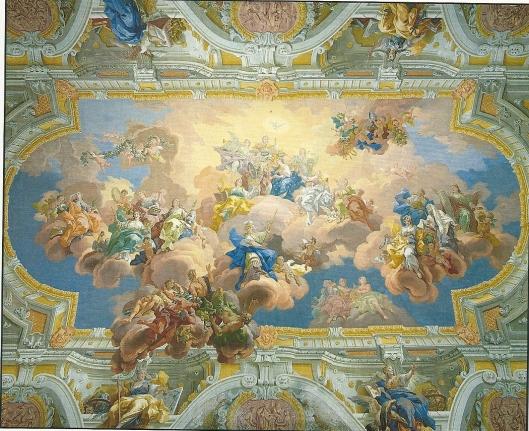 Plafondschildering in Sankt Florian: 'Verbinding van de deugd met de wetenschap', plafondschildering in bibliotheek van B. Altomonte naar een ontwerp van D.Gran.