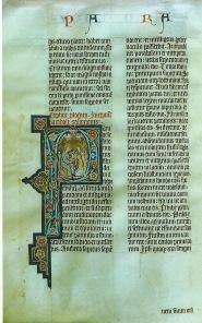 Tekstpagina met initiaal P uit de Aich-bijbel, een gotisch bijbelhandschrift uit 1310, afkomstig van het scriptorium van Abt Friedrich von Aich, Stiftsbibliothek Krensmünster