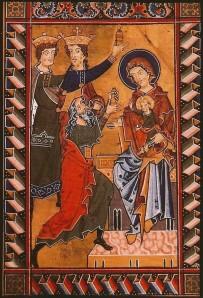 'Aanbidding van de koningen'. Miniatuur uit een Psalterium rond 1250. Stiftsbibliothek Melk