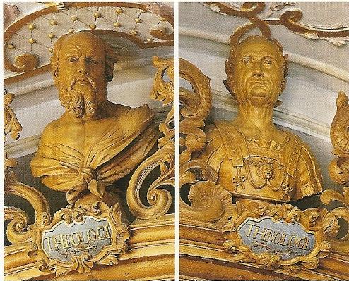 "Waldsasse""n; portretbustes van de Griekse filosoof Socrates (links) en de Romeinse keizer Caesar (rechts)"