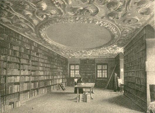 Prentbriefkaart uit circa 1920 met afbeelding van de abdijbibliotheek in Bad Beuron