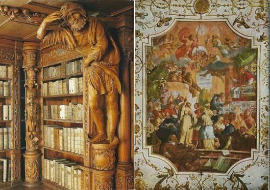 Achterzijde van voornoemde gidsjes. Links met allegorische afbeelding : 'Der hoffärtige Hochmut' , rechts plafondschildering van Sint Bernardus op het concilie in Reims 1148, vervaardigd door Karl Hofreiter, 1724