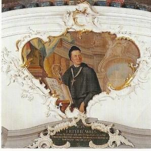 Abt Philipp Jakob Steyrer (1749-1795) is in de bibliotheekzaal van Sant Peter 'vereeuwigd', ook al verwijst het onderschrift naar een andere abt - het boek in zijn hand vermeldt een titel van de door hem hoog gewaardeerde abt Blosius von Liessis (diocees Cambrai).