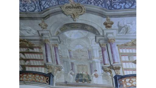 Detail van een plafondschilderimng met afbeelding van een theologische bibliotheek in Premonstratenserklooster van Speinshart banij Regensburg in Beieren
