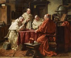 Fritz Wagner: een kardinaal met monniken in de kloosterbibliotheek