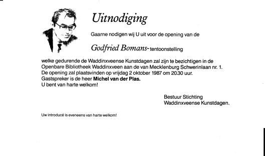 Uitnodigingskaart Bomans-tentoonstelling in Waddinxveen, 2 oktober 1987, te openen door Michel van der Plas