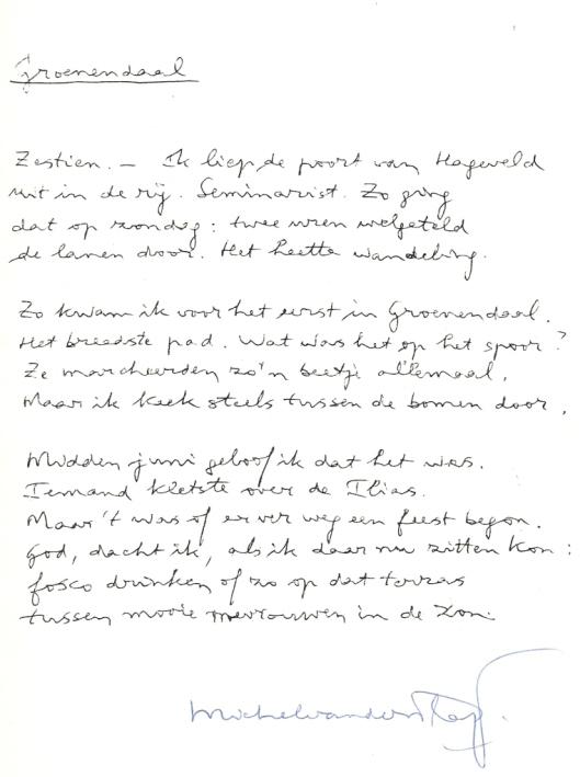 Gedicht 'Groenendaal' door Michel van der Plas (1987)