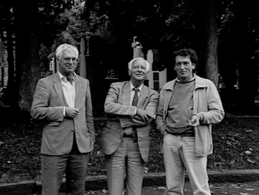 De 3 samenstellers van televisieserie en boek 'Abdijen der lage landen' V.l.n.r. Gerrit Visscher, Michel van der Plas en Jan Gruytaert (foto Katholiek Documentatie Centrum)