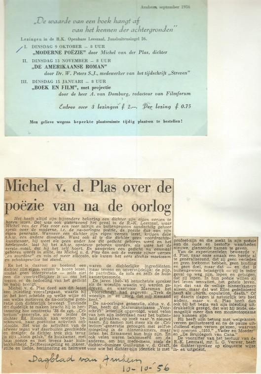 Aankondiging van lezing over 'Moderne Poëzie' door Michel van der Plas in de r.k. openbare leeszaal te Arnhem+ bespreking in 'Dagblad van Arnhem,, 10-10-1956.