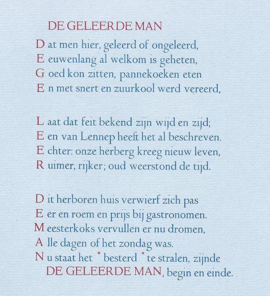 Vers De Geleerde Man in de vorm van een acrostichon door Michel van der Plas