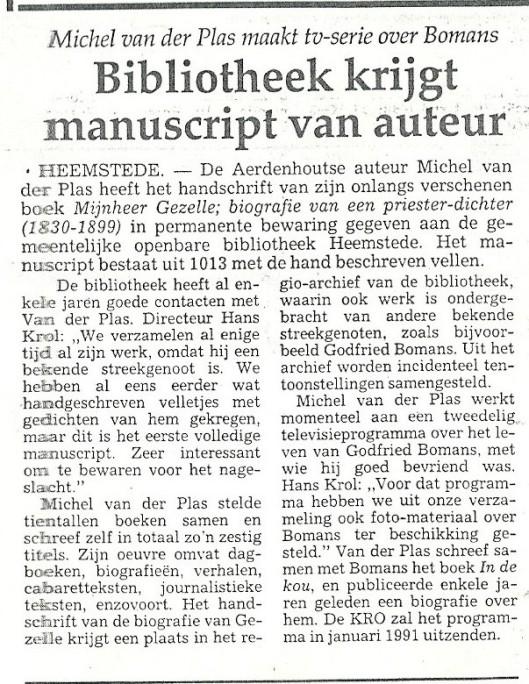 Schenking manuscript van Mijnheer Gezelle aan bewaarcollectie bibliotheek Heemstede (Haarlems Dagblad, 7-12-1990).