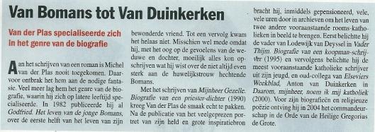 Schrijver Michel van der Plas: wèl biograaf maar geen romanschrijver. Uit: Elsevier van 20 oktober 2012