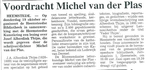 Bericht over voordracht van Michel van der Plas in de Heemsteedse bibliotheek. Heemsteedse Courant, 12 oktober 1995.