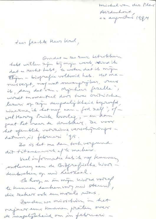 Schrijven van Michel van der Plas aan Hans Krol naar aanleiding van de te verschijnen Thijm-biografie, 22 augustus 1994