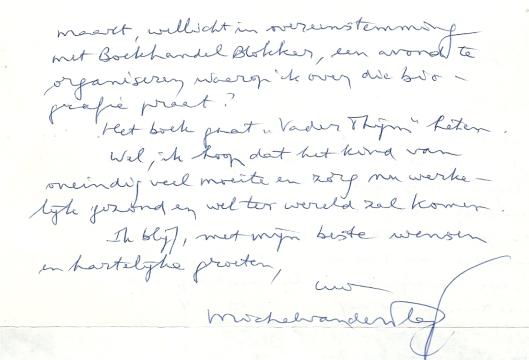 Vervolg schrijven de dato 22 augustus 1994 van Michel van der Plas aan Hans Krol